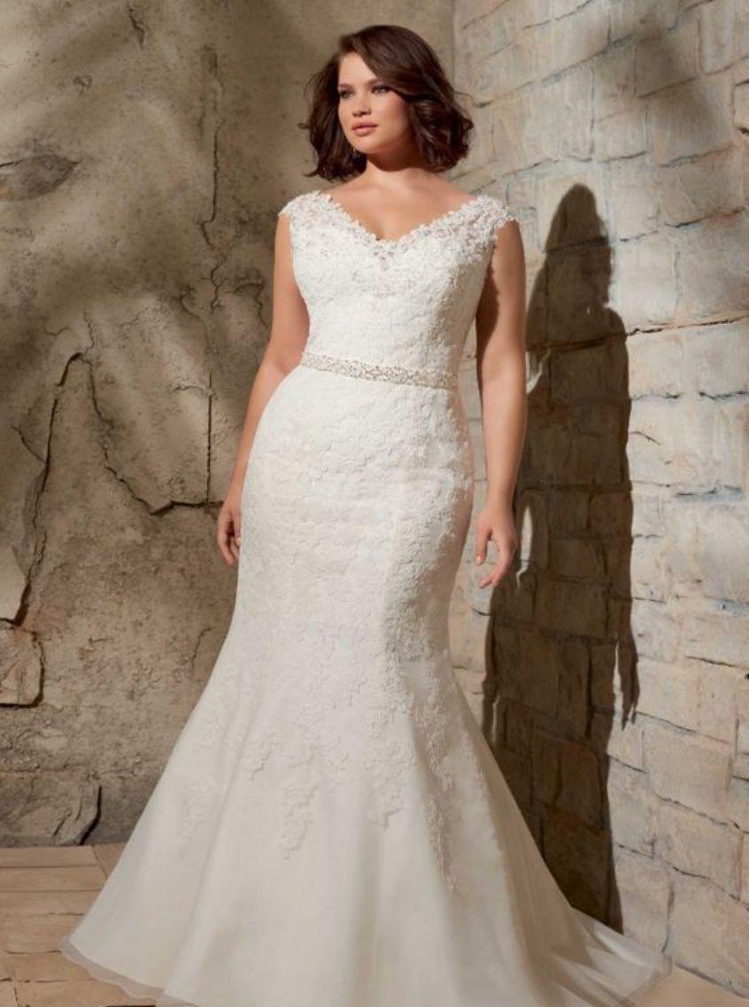 Plus Size White Jeweled Applique Mermaid Dress