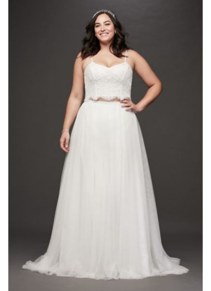 Plus Size White Lace Straps A Line Dress