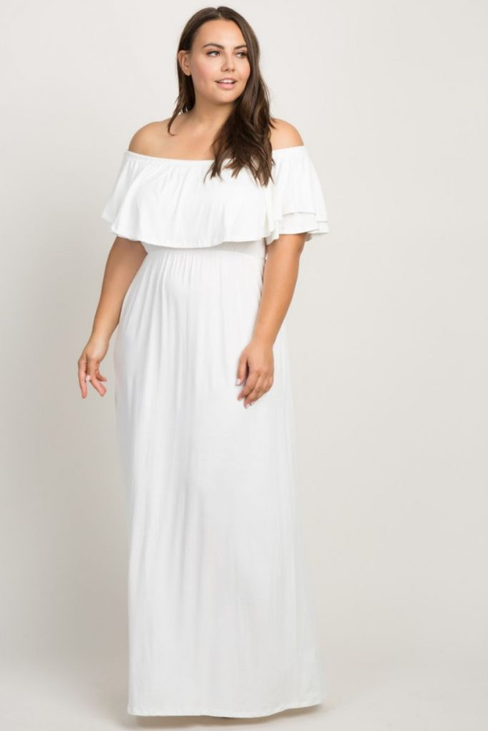Plus Size White Off the Shoulder Lace Sleeves Maxi Dress