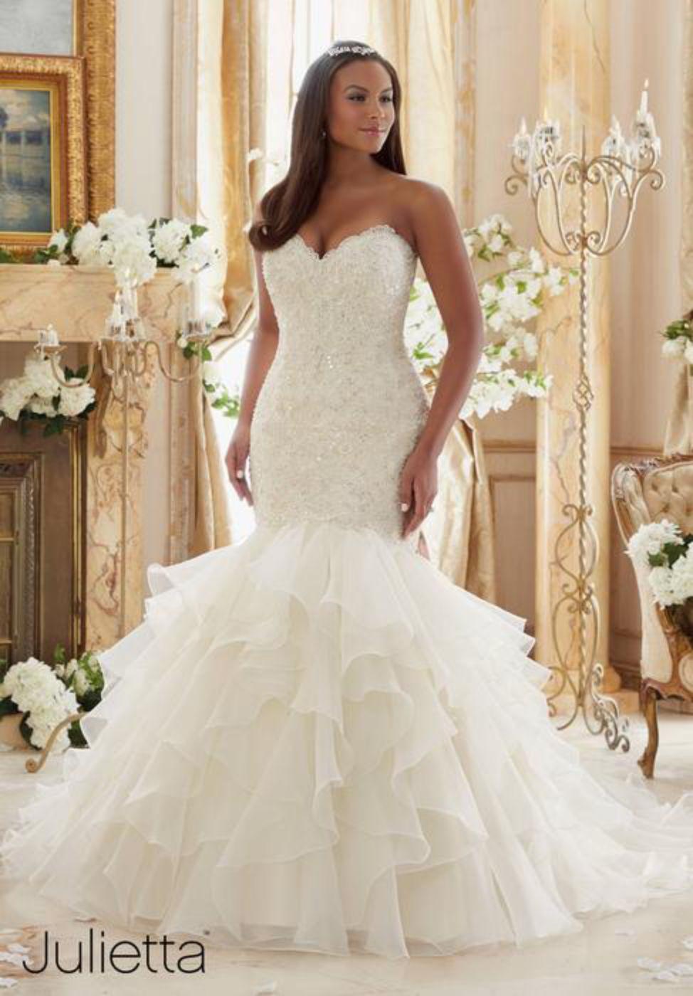 Plus Size White Ruffled Organza Skirt Dress