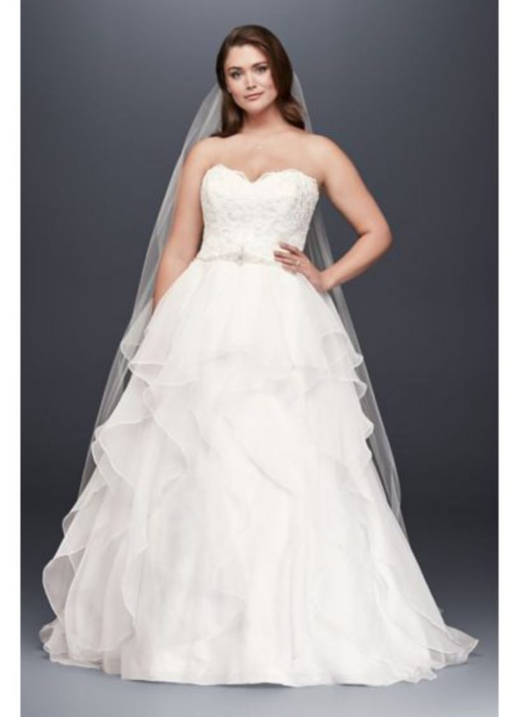 Plus Size White Strapless Ball Gown