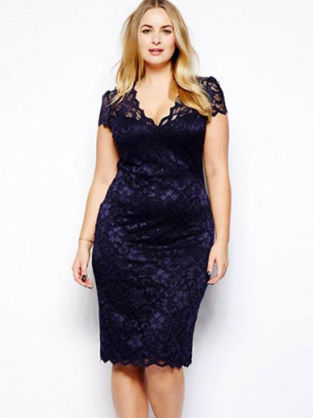 Purple Plus Size Three Quarter Sleeves Lace Dress for Formal Dress