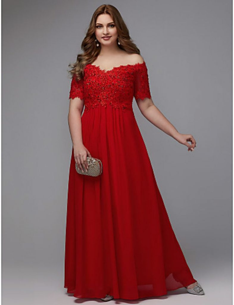 Red Asymmetrical Cape Gown floor length plus size