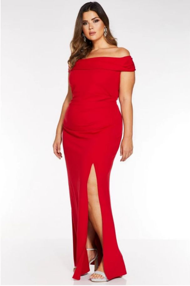 Red Plus Size Evening Dress Bardot Ruched Fishtail Maxi Dress