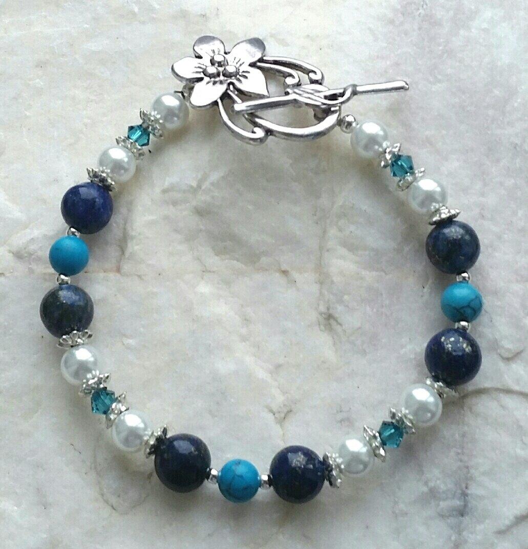 Royal Blue Beaded Bracelets for Girls