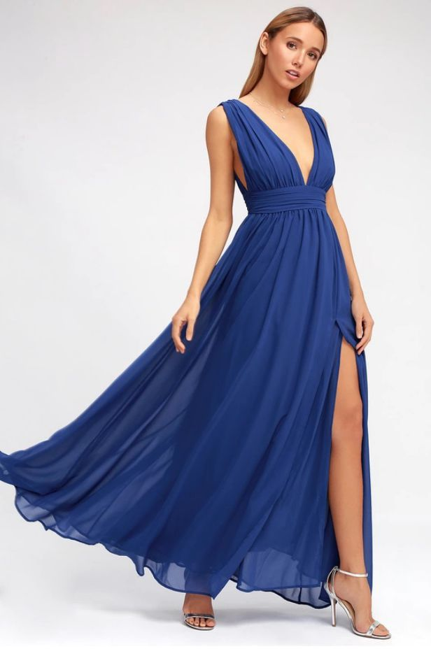 Royal Blue Dress Long Elegant