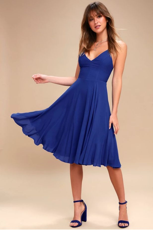Royal Blue Dress Short Casual