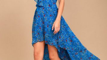 Royal Blue Floral Print Lace Up High Low Dress