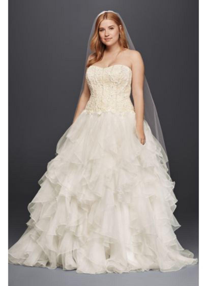 Ruffled Organza Skirt Plus Size White Dress