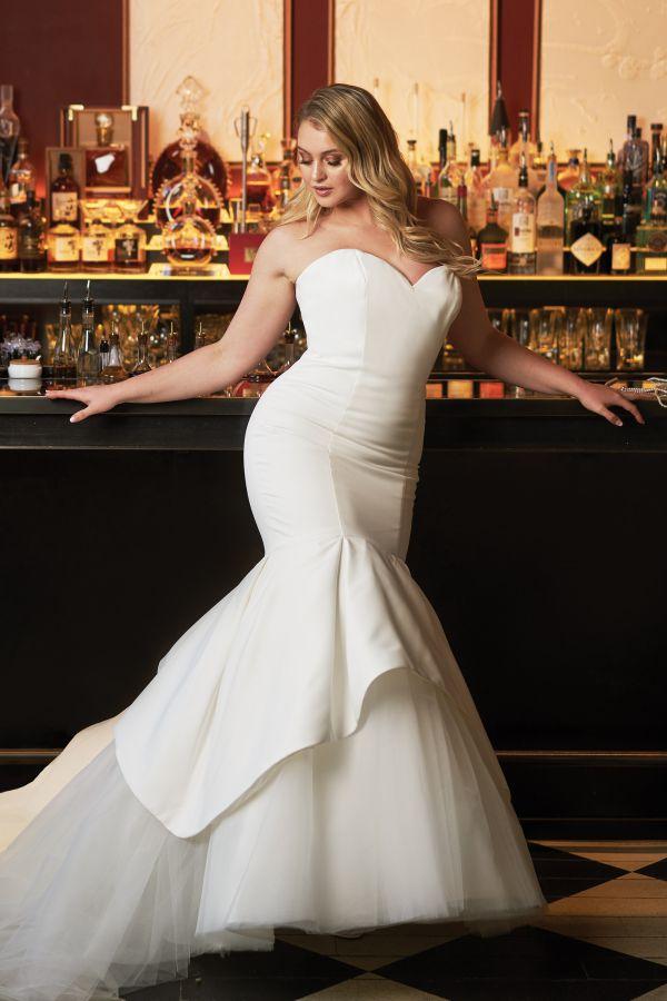 Satin Mermaid Wedding Dress Tulle Skirts
