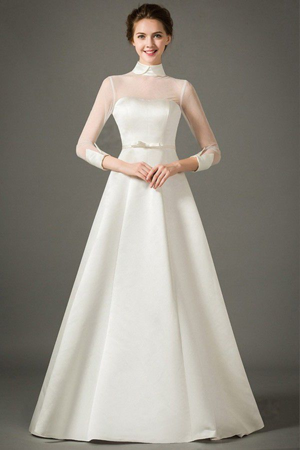 Satin Wedding Dress With Sleeves a Line