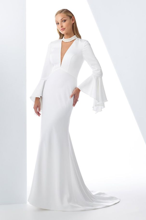 Satin Wedding Dress a Line Sleeves