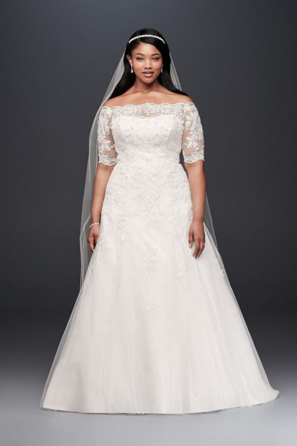 Scalloped Lace and Tulle Plus Size Dress