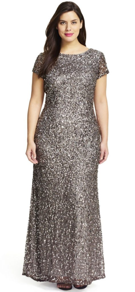 Scoop Back Sequin Gown Plus Size
