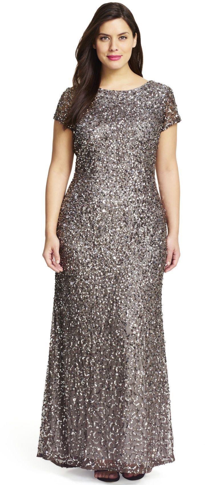 Scoop Back Sequin Gown Plus Size