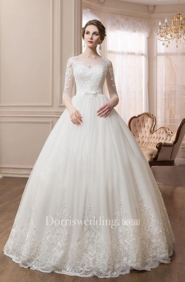 Scoop Long Sleeve Ball Gown with Lace Sleeves