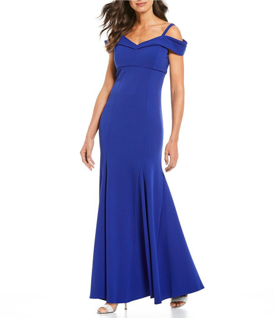 Scuba Stretch Off the Shoulder A Line Royal Blue Dress