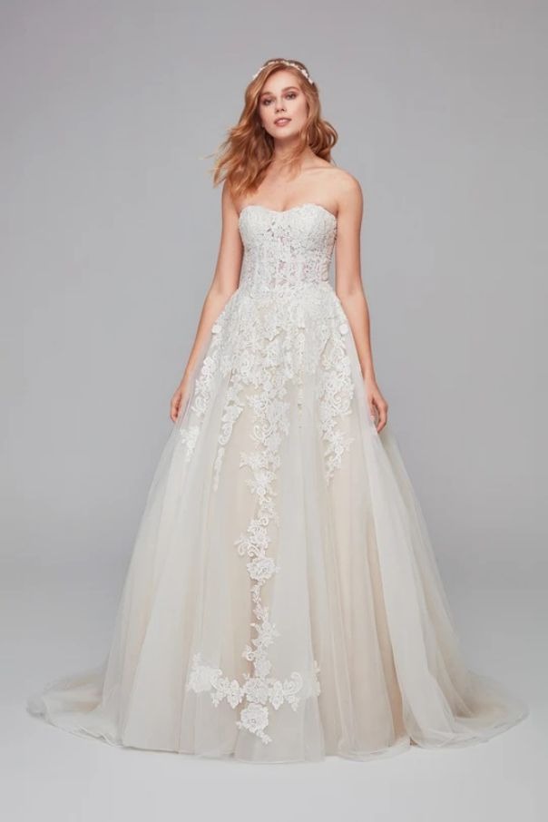 Sheer Lace and Tulle Ball Gown