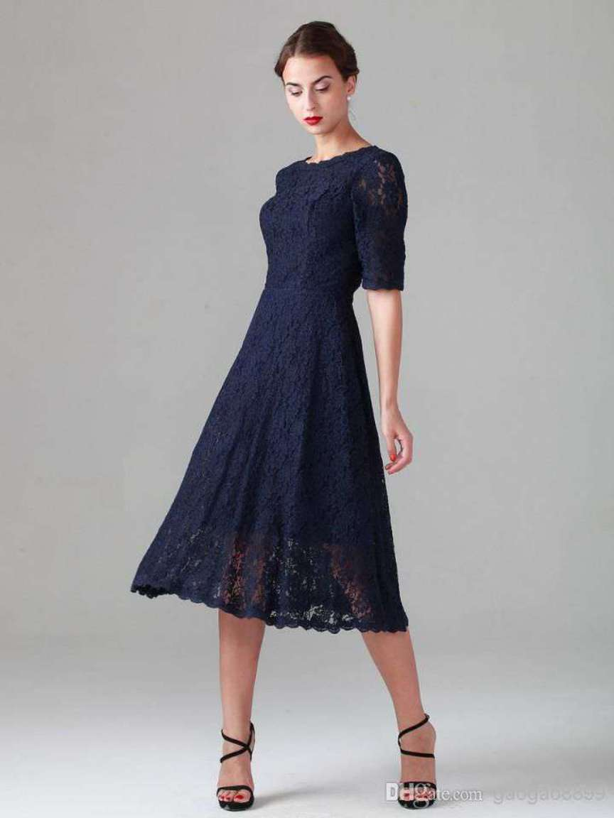 Short Navy Blue Mother of the Bride Dresses Tea Length