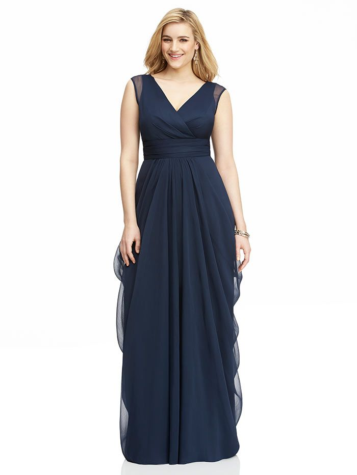 Side Slit Cut Out Gown in Navy Plus Size Bridesmaid Dresses