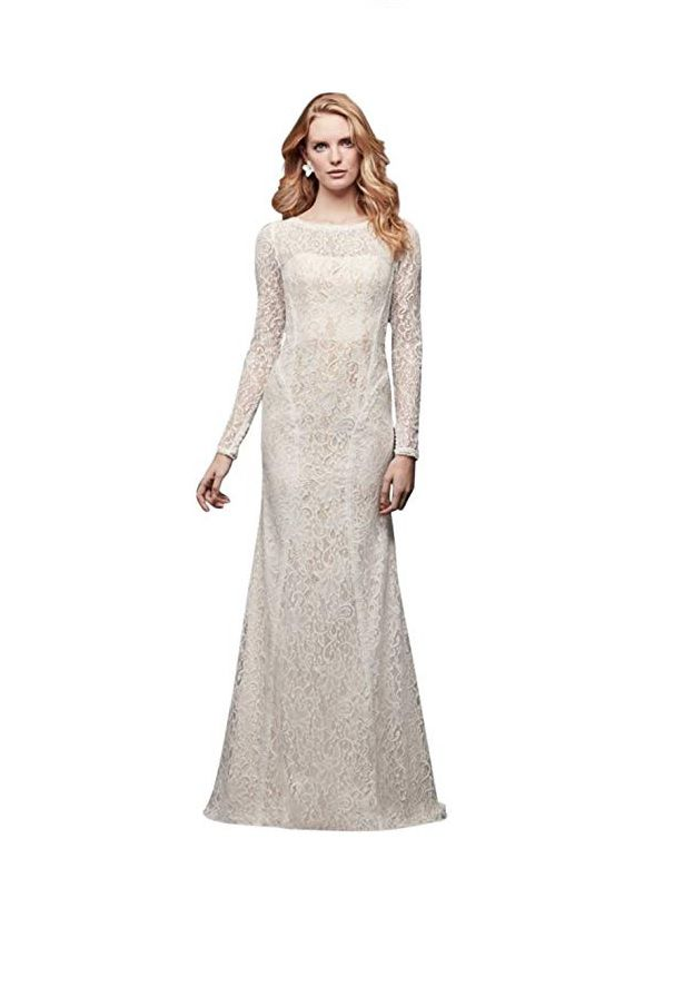 Simple Long Wedding Dress Lace Sleeves