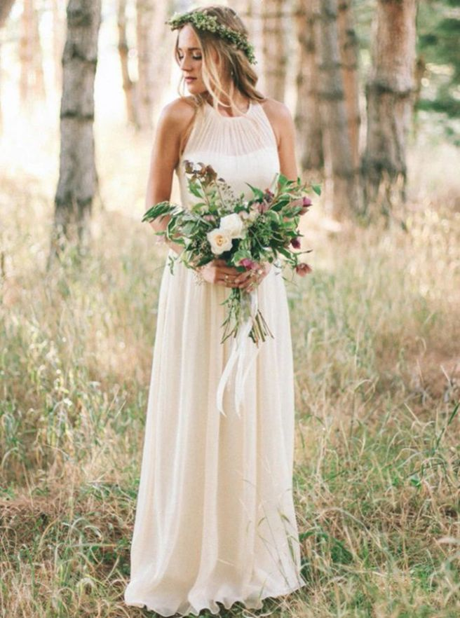 Simple White Wedding Dress Casual Classy