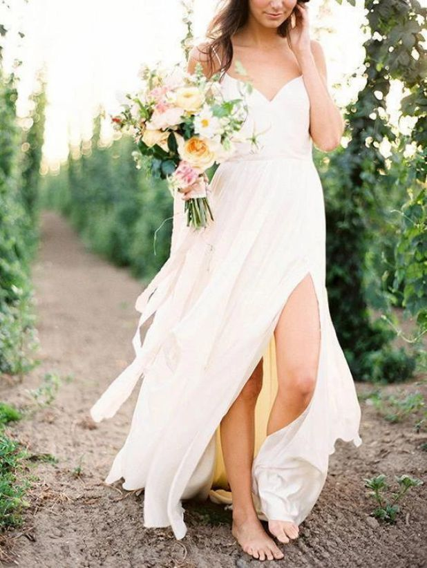 Simple White Wedding Dress Casual