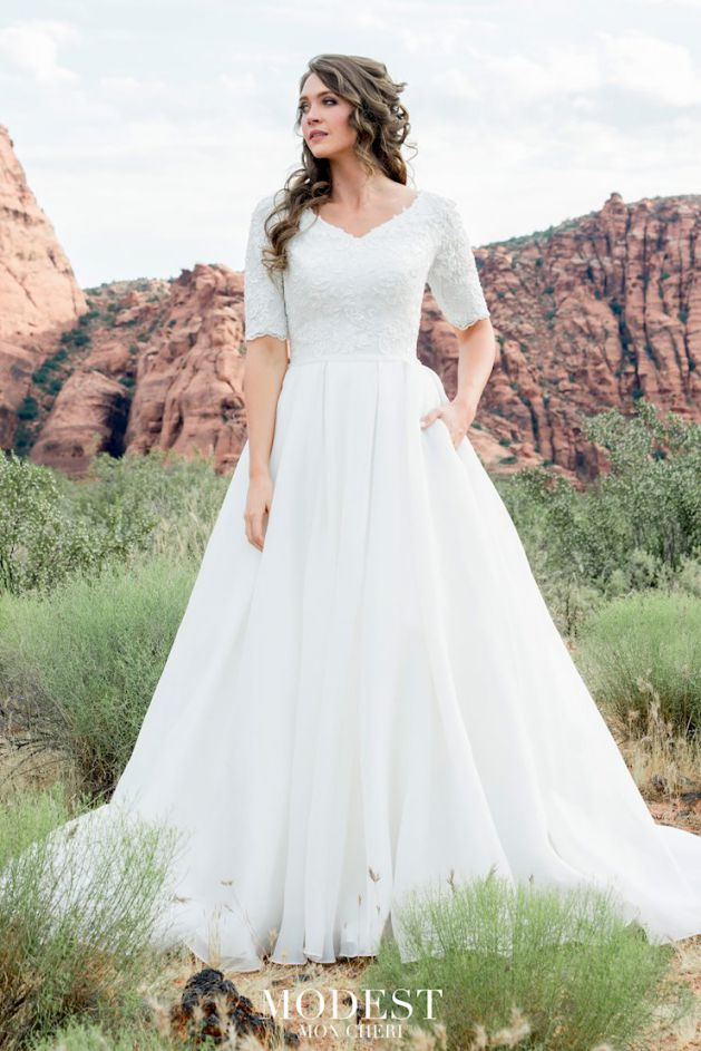 Simple White Wedding Dress Modest