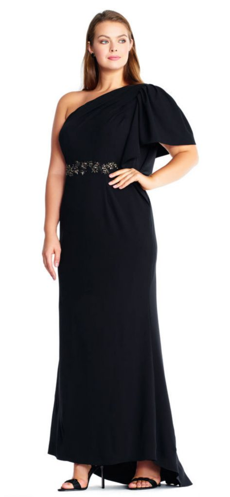 Starburst Beaded One Shoulder Gown for plus size