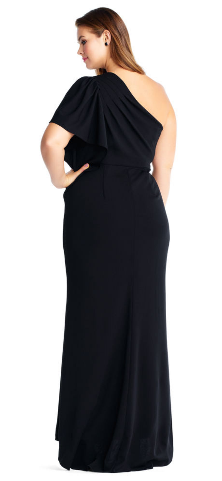 Starburst Beaded One Shoulder Gown for plus size Back Side