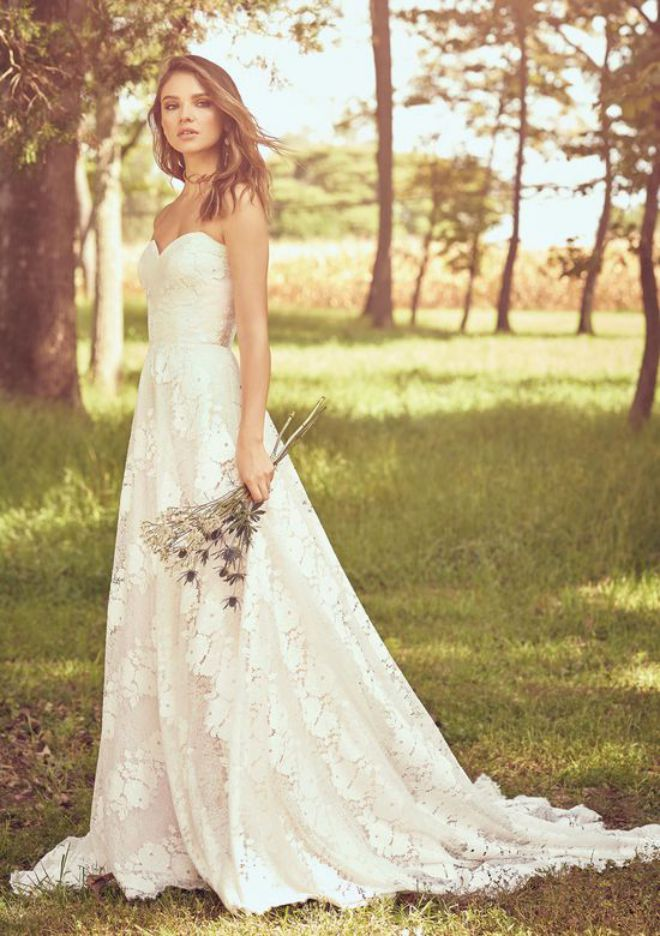 Strapless A Line Wedding Dress With Lace