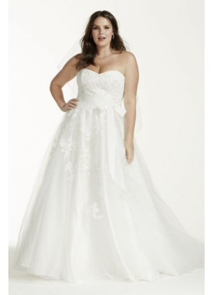 Strapless Ball Gown Plus Size White
