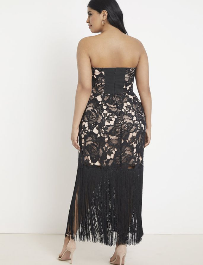 Strapless Lace and Fringe Dress Plus Size