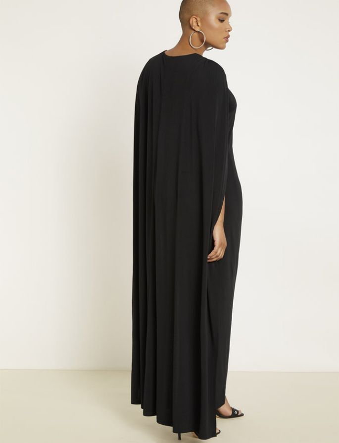 Studio Jersey Capelet Gown in Black Plus Size