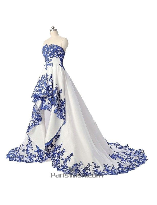 Sweetheart Embroidery White and Blue High Low Wedding Dress