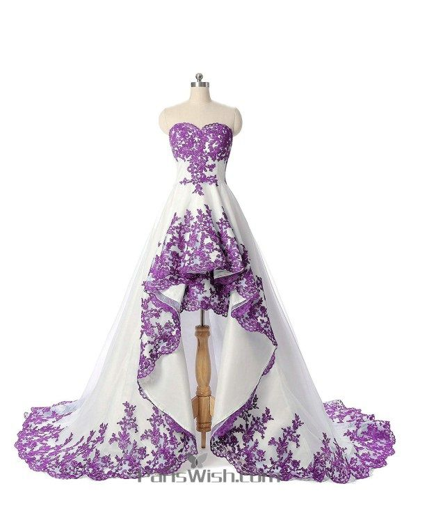 Sweetheart Embroidery White and Purple High Low Wedding Dress