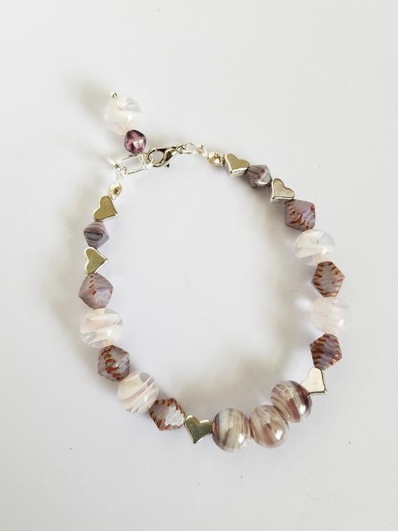 Trendy Lavender Glass Beaded Bracelets for Girls