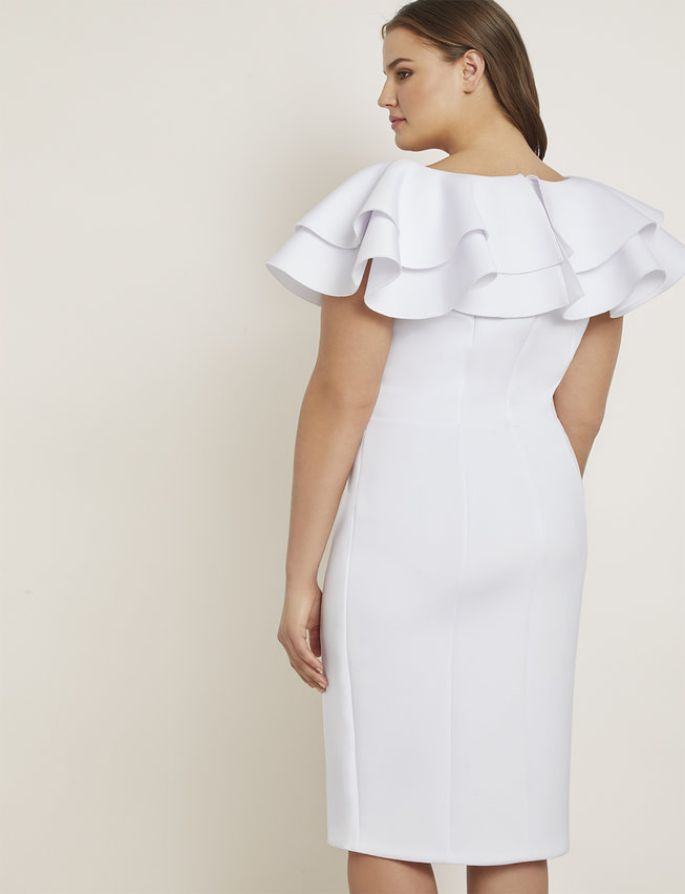 Triple Ruffle Dress in White Plus Size