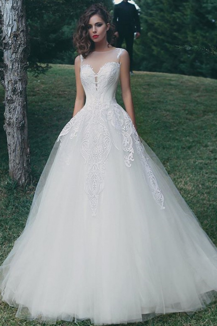 Tulle Appliques Summer Wedding Dresses for Bride