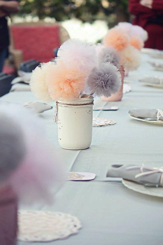 Tulle Pompom Wedding Table Ideas