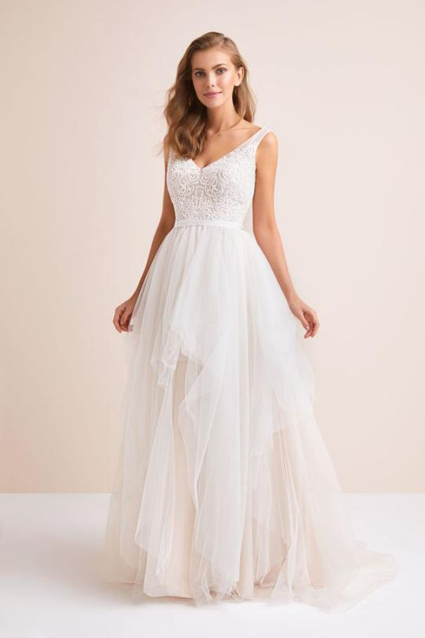Tulle Tank V Neck Ball Gown with Layered Skirt