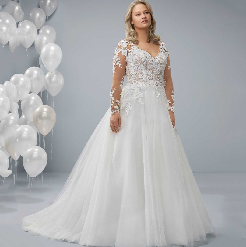 Wedding Dress With Lace Sleeves Plus Size