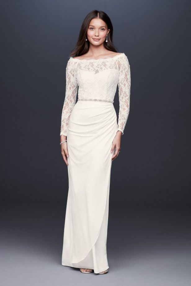 Wedding Dresses a Line Sleeves Off Shoulder