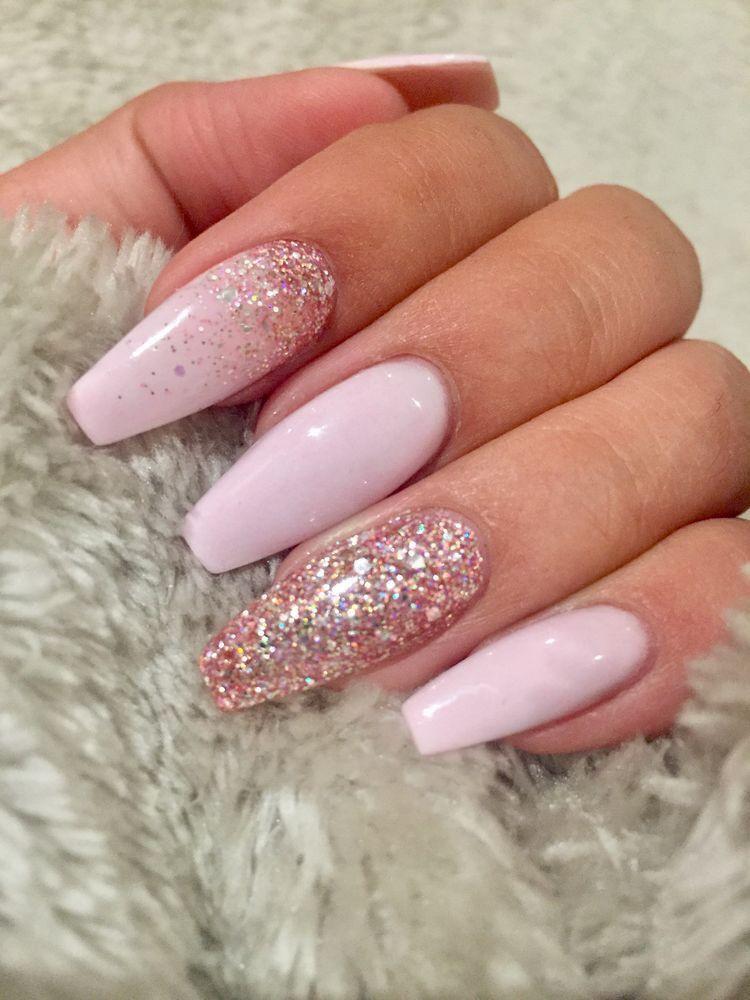 Wedding Nail Ideas Pink Nails Soft With Rhinestone