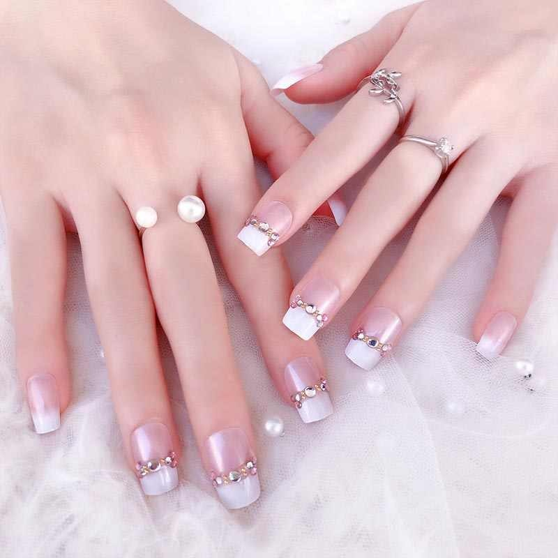 Wedding Nail Ideas Simple Wedding Nails With Rhinestone