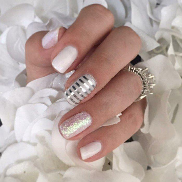 Wedding Nail Ideas White Nails With Silver Strip Glitter