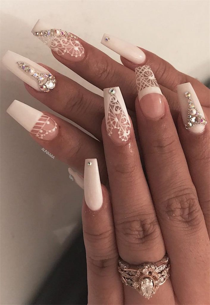 Wedding Nails for Bride Lace Design