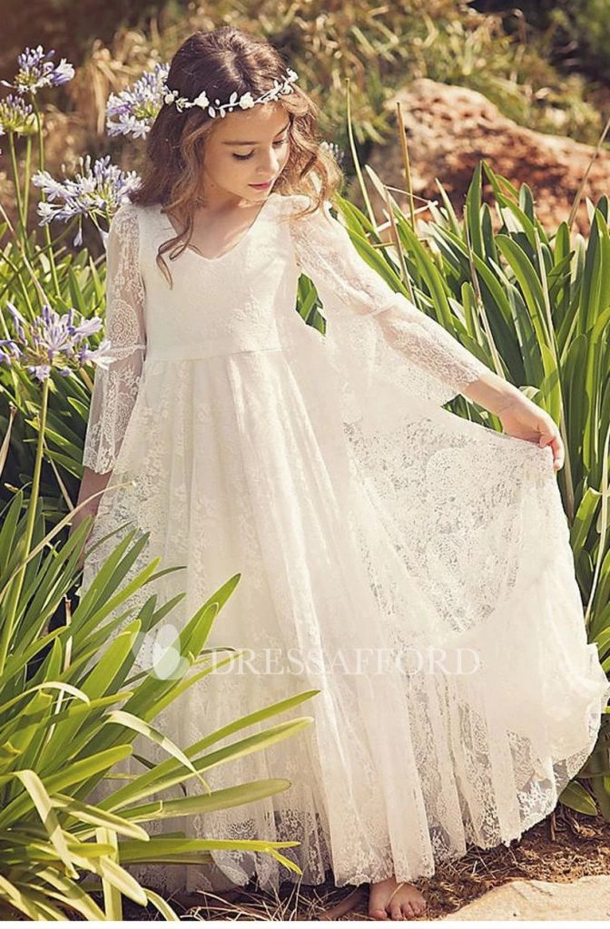 Wedding dresses for girls Beautiful Bohemian Lace Simple Flower Girl