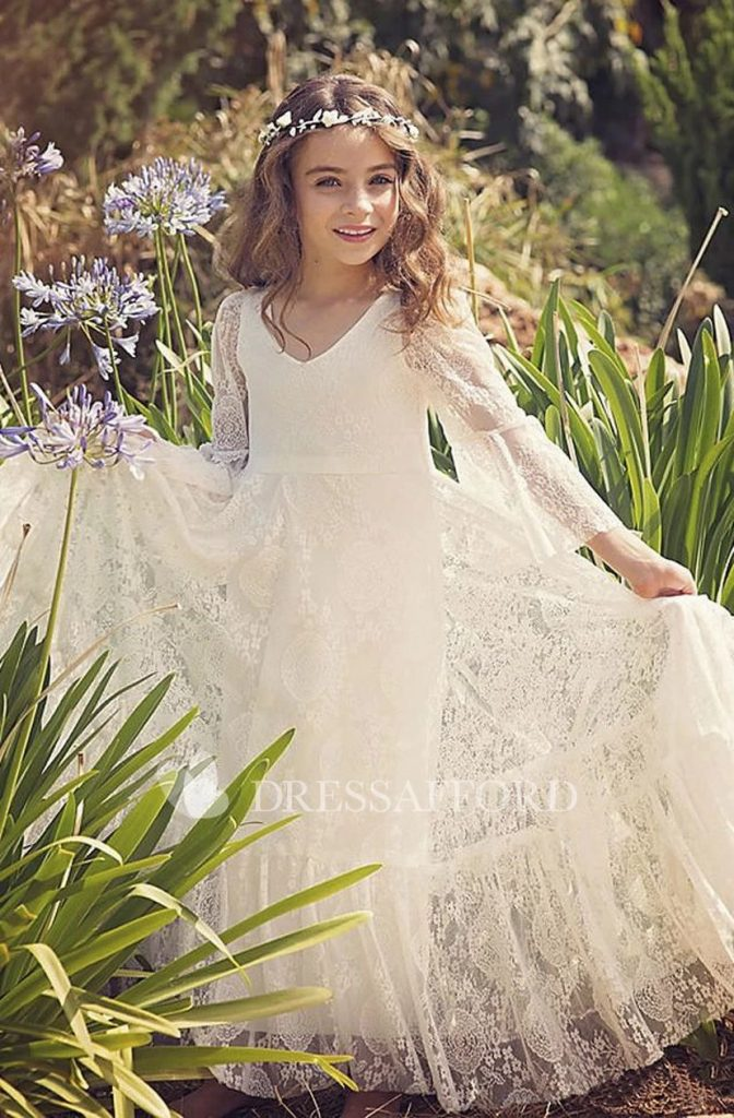 Wedding dresses for girls Bohemian Lace Simple Flower Girl