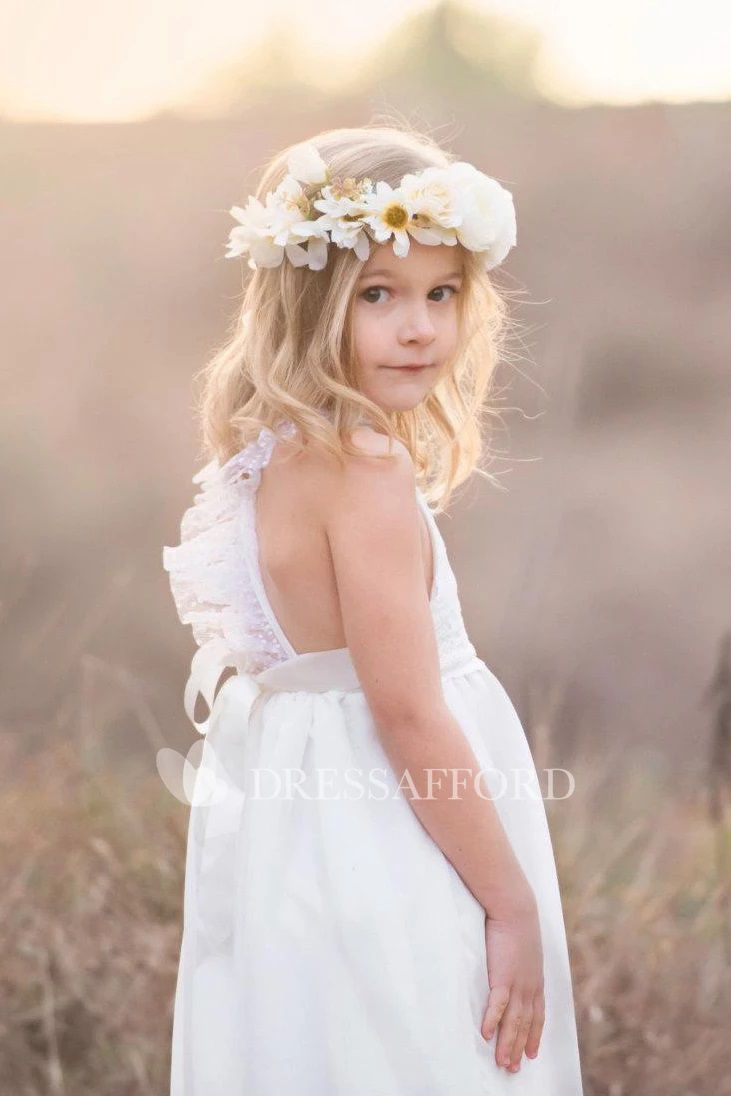 Wedding dresses for girls Lace Bow Back Strap Criss Crossed